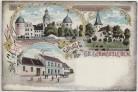 Litho Gruss aus Groß Germersleben Rittergut Gasthof zum Stern Kirche bei Oschersleben 1900 RAR