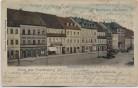 AK Gruss aus Frankenberg in Sachsen Marktplatz mit Geschäften Westseite 1900