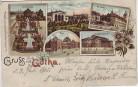 Litho Gruss aus Gotha Schlossberg Post Rathaus ... 1905