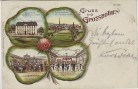 Kleeblatt-Litho Gruss aus Großbothen Gasthof Gaststube Saal Totale Grimma 1901 RAR