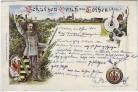 AK Schützen-Gruß aus Cöthen Köthen Schütze Gewehr Wappen 1900 RAR