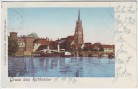 AK Gruss aus Rathenow Ortsansicht mit Kirche goldene Fenster 1903