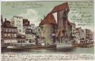 AK Danzig Gdańsk Krantor Schiff Geschäfte Pommern Polen 1905