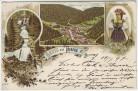 Litho Gruss aus Triberg im Schwarzwald Wasserfall Tracht Ortsansicht 1897