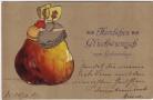Präge-AK Herzlichen Glückwunsch zum Geburtstage 2 Mädchen auf Apfel 1907
