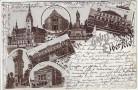 Litho Gruss aus Elberfeld Kriegerdenkmal Theater Rathaus ... Wuppertal 1897