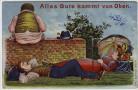 Künstler-AK Alles Gute kommt von Oben Mann und Frau Humor Scherzkarte 1910