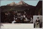 AK Berchtesgaden Ortsansicht mit Watzmann Frau in Tracht 1910