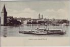 AK Lindau am Bodensee Blick vom Leuchtturm mit Dampfer Kaiserin Elisabeth 1900