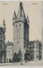 AK Mainz Holzturm mit Menschen 1909