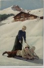 Künstler-AK 3 Personen mit Doppelschlitten Schlitten 1912