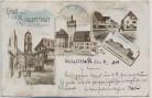 AK Litho Gruß aus Schlettstadt Sélestat Münster Kaserne Fischerbach ...  Bas-Rhin Elsass Frankreich 1900 RAR