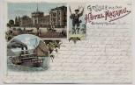 AK Litho Biebrich am Rhein Grüsse aus dem Hotel Nassau b. Wiesbaden 1898