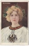 AK Patriotika Frau mit Kranz und Adler Goldverzierungen L.H.Lund 1906 RAR
