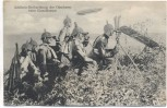 AK Feldpost Das Deutsche Heer Artillerie-Beobachtung der Geschosse beim Einschiessen Zeppelin Soldaten Pickelhaube 1915