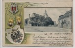 Präge-AK Litho Güsten Ortsansicht mit Wappen 1903