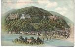 Litho Schlosshotels und Schlossruine Heidelberg 1908