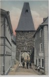 AK Herrstein Uhrturm mit Menschen Fürstentum Birkenfeld 1910 RAR