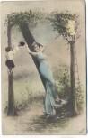 AK Jugendstil Frau an Baum lehnend 2 Kinder im Baum 1905