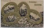 Präge-AK Freiburg im Breisgau Fröhliche Ostern Schwabentorbrücke Kaiserstraße Münster... Goldrand 1900 RAR