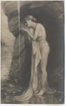 AK Frau im Kleid barfuss am Wasserfall 1910