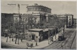 AK Magdeburg Stadttheater mit Straßenbahn und Cafe 1919