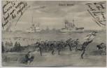 Künstler-AK Unsere Marine Schiffe Soldaten Zeppelin Feldpost 1915