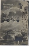 AK Monarchie Friedrich II. der Große Schiffe 1.WK Monarchen Feldpost 1914