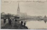 AK Wervik Wervicq Vue sur la Lys Ortsansicht mit Menschen Flandern Belgien 1925