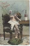 AK Prosit Neujahr Kind auf Stuhl Wein trinkend 1904