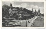 AK Dresden Die Brühlsche Terrasse mit Belvedere Stempel Paulsdorf über Dippoldiswalde 1935