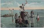 AK Nordseebad Langeoog Kinder am Strand mit Fahnen 1914