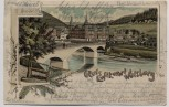 AK Litho Gruss aus Luftkurort Walsburg Ortsansicht mit Brücke b. Eßbach Schleiz Thüringen 1901