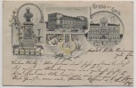 AK Gruss aus Gera Wilhelm Tschirch-Denkmal Theater Gewerbehaus 1901