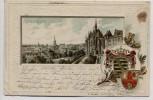 Präge-AK Altenburg Ortsansicht mit Schloss und Wappen 1901