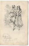 AK 2 Frauen im Pelzmantel Jugendstil Fröhliche Weihnachten ! 1904