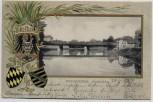 Präge-AK Weißenfels Saalebrücke mit Wappen 1901 RAR