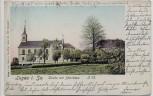 AK Lugau in Sachsen Kirche mit Pfarrhaus 1901 RAR