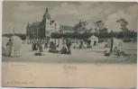 AK Kolberg Kołobrzeg Strandschloss mit Menschen Pommern Polen 1910