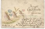 Präge-AK 3 Vögel mit Blumen goldverziert Die besten Glück-Wünsche zum Geburtstage 1906