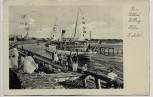 AK Kolberg Kołobrzeg Hafen Einfahrt mit Schiff und Menschen Pommern Polen 1935