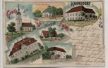 Litho Gruss aus Kahnsdorf Gasthaus Pürsten Rittergut Zöpen 1905