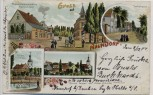 Litho Gruss aus Naundorf Dorfstrasse Kirche bei Oschatz 1904