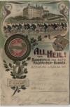 Litho Altenburg All Heil ! vom Bundesfest des sächs. Radfahrer-Bundes Schloss Wappen Radfahrer 1901 RAR