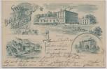 AK Vorläufer Gruss aus dem Bahnhof Kieritzsch Schule Fabrik bei Neukieritzsch 1900 RAR