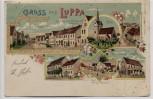 Litho Gruss aus Luppa Deutsch-Luppa Schule Kirche Gasthaus ... bei Wermsdorf 1901 RAR