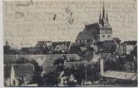 AK Lommatzsch Ortsansicht mit Kirche Inflation 1922