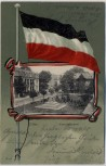Passepartout AK Zittau Bismarckdenkmal mit Fahne 1902