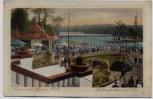 AK Berlin Halensee Grunewald Gruss vom Luna-Park Parkaufnahme mit See viele Menschen 1927