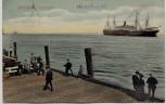 AK Nordseebad Cuxhaven Steg Menschen Schiff 1913